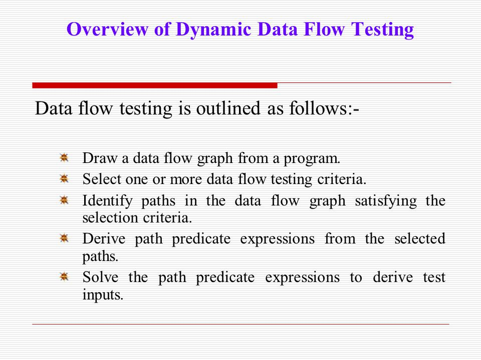 Overview of Dynamic Data Flow Testing