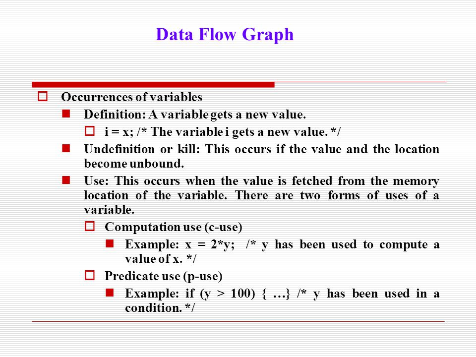 Data Flow Graph Occurrences of variables