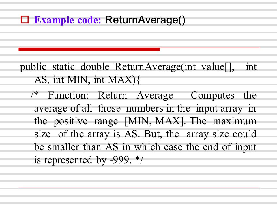 Example code: ReturnAverage()