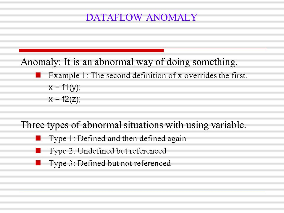 Anomaly: It is an abnormal way of doing something.