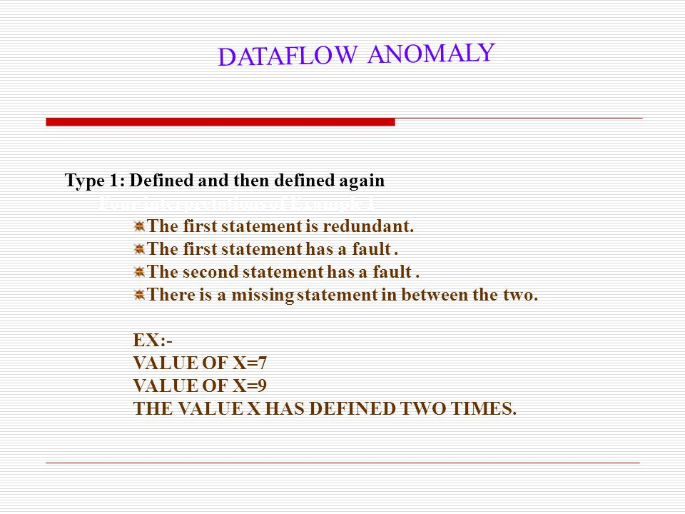 DATAFLOW ANOMALY Type 1: Defined and then defined again