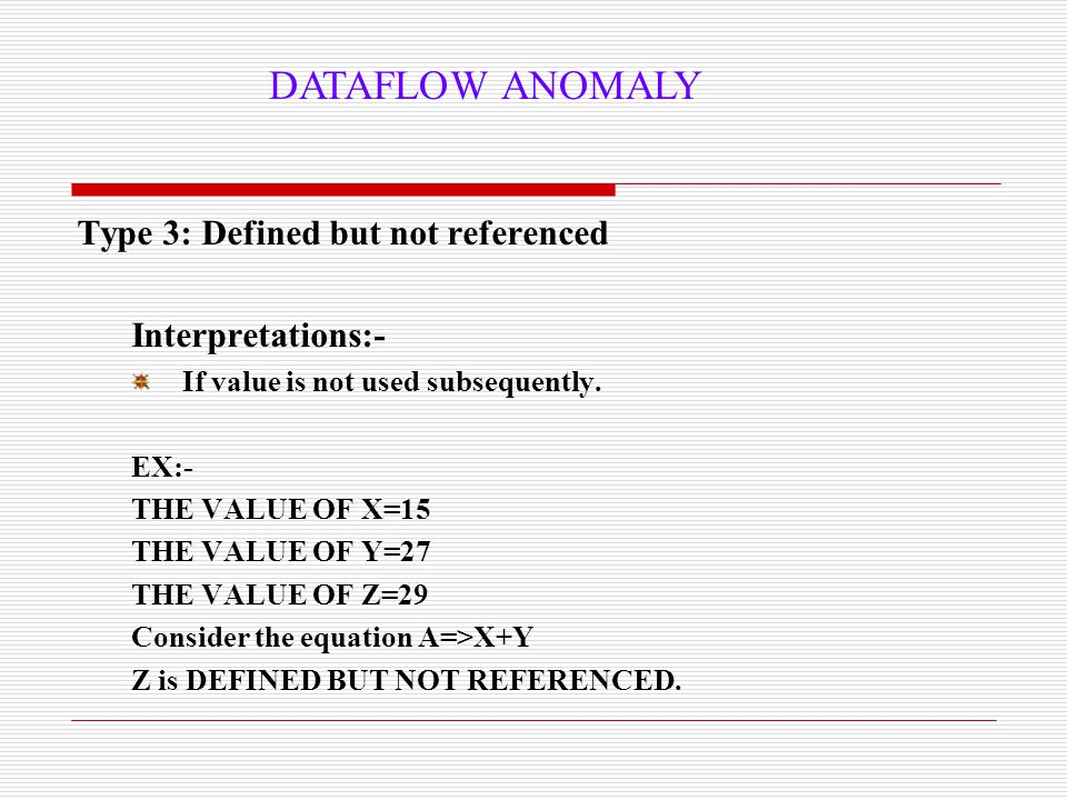 DATAFLOW ANOMALY Type 3: Defined but not referenced Interpretations:-