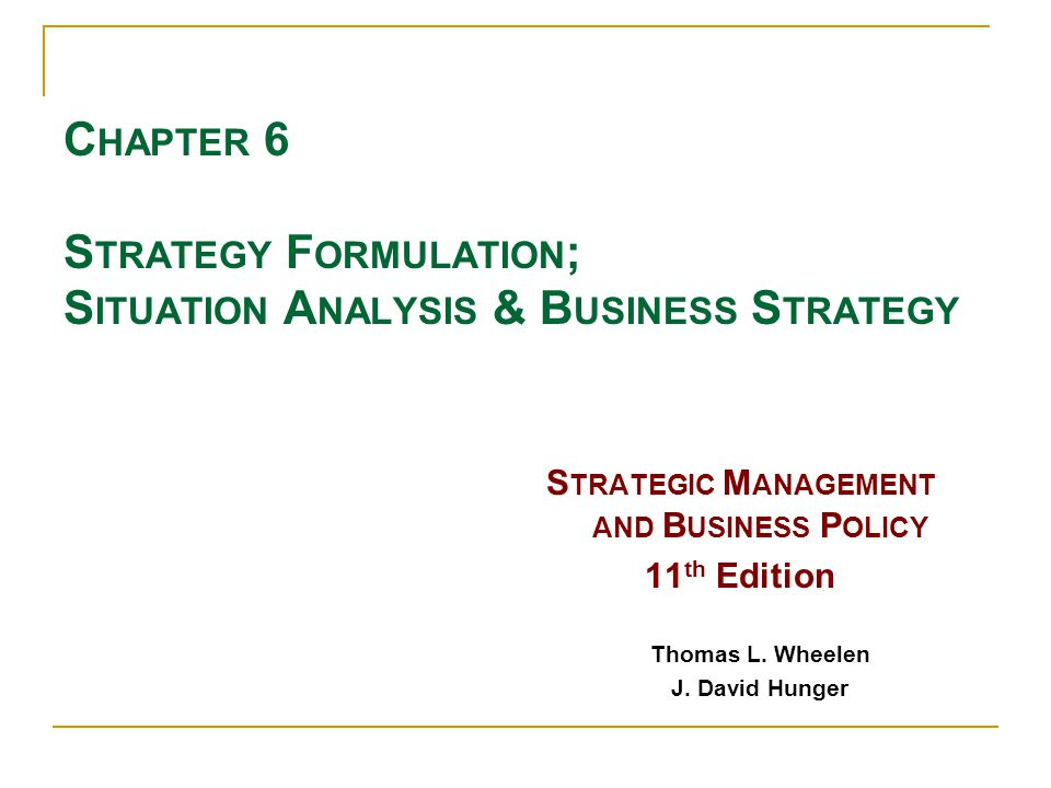 Situation analysis strategy report