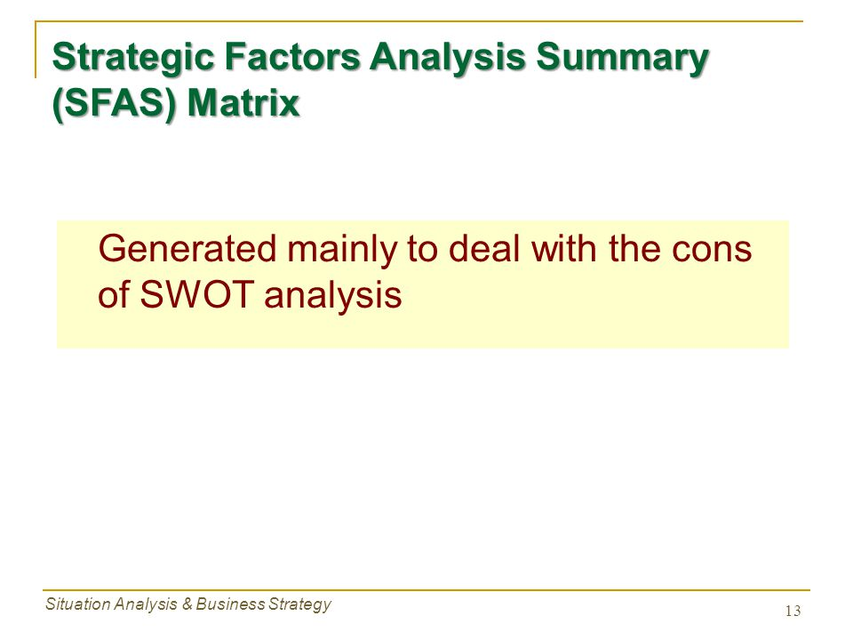 Strategic Factors Analysis Summary (SFAS) Matrix