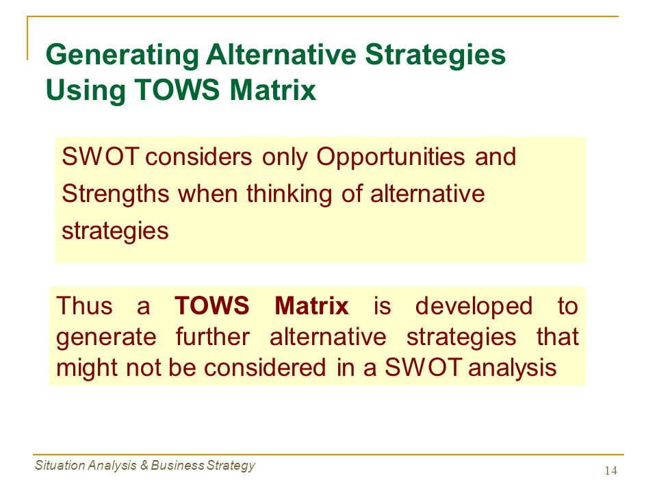 Generating Alternative Strategies Using TOWS Matrix