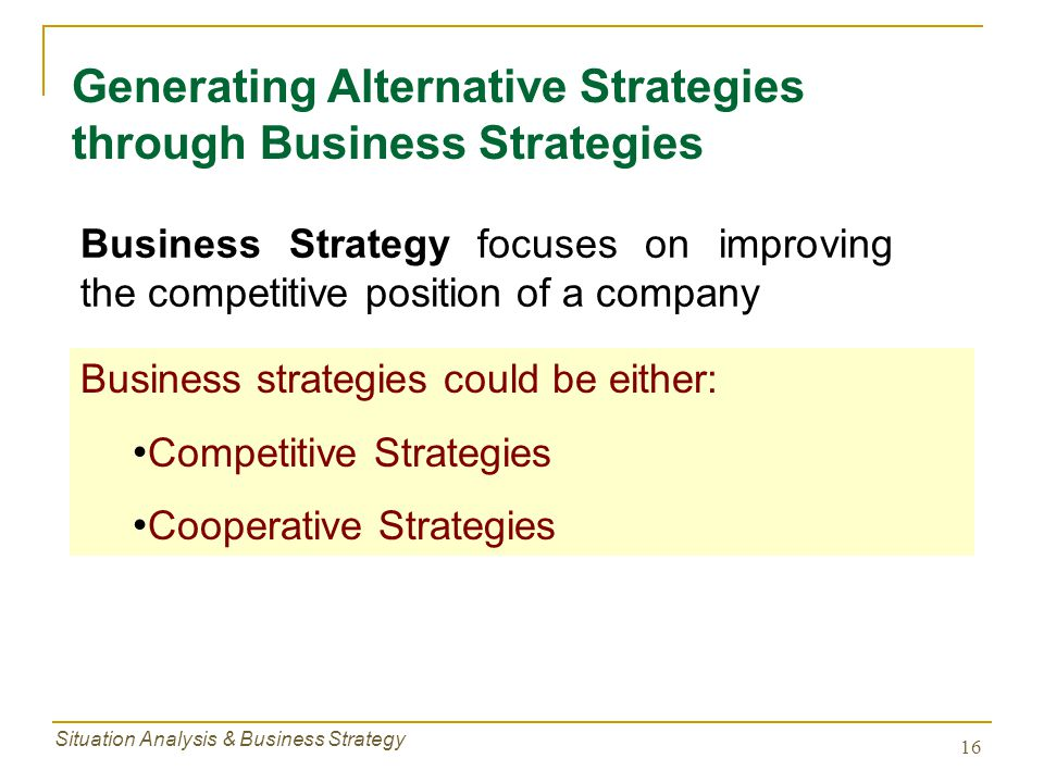 Generating Alternative Strategies through Business Strategies