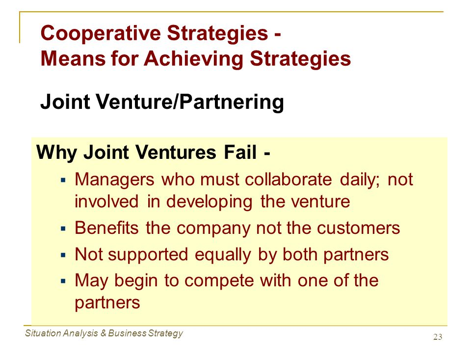 Cooperative Strategies - Means for Achieving Strategies