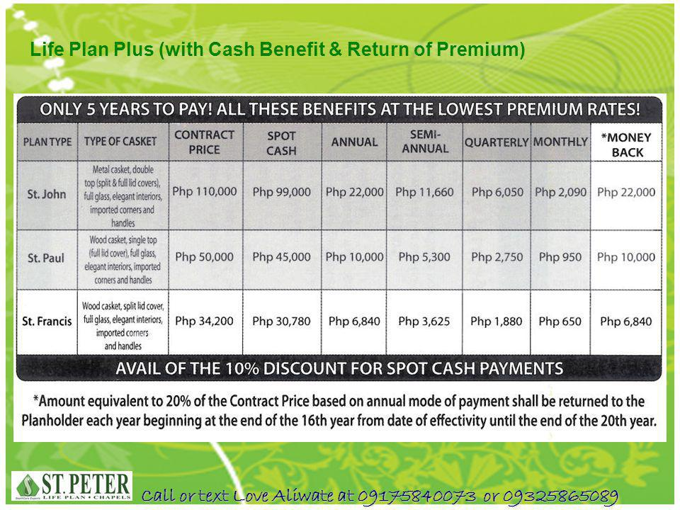 Life Plan Plus (with Cash Benefit & Return of Premium)