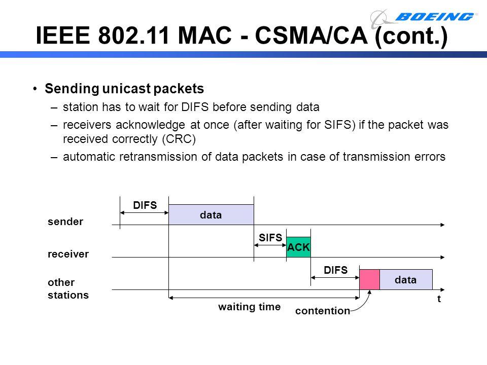IEEE 802.11 MAC - CSMA/CA (cont.)
