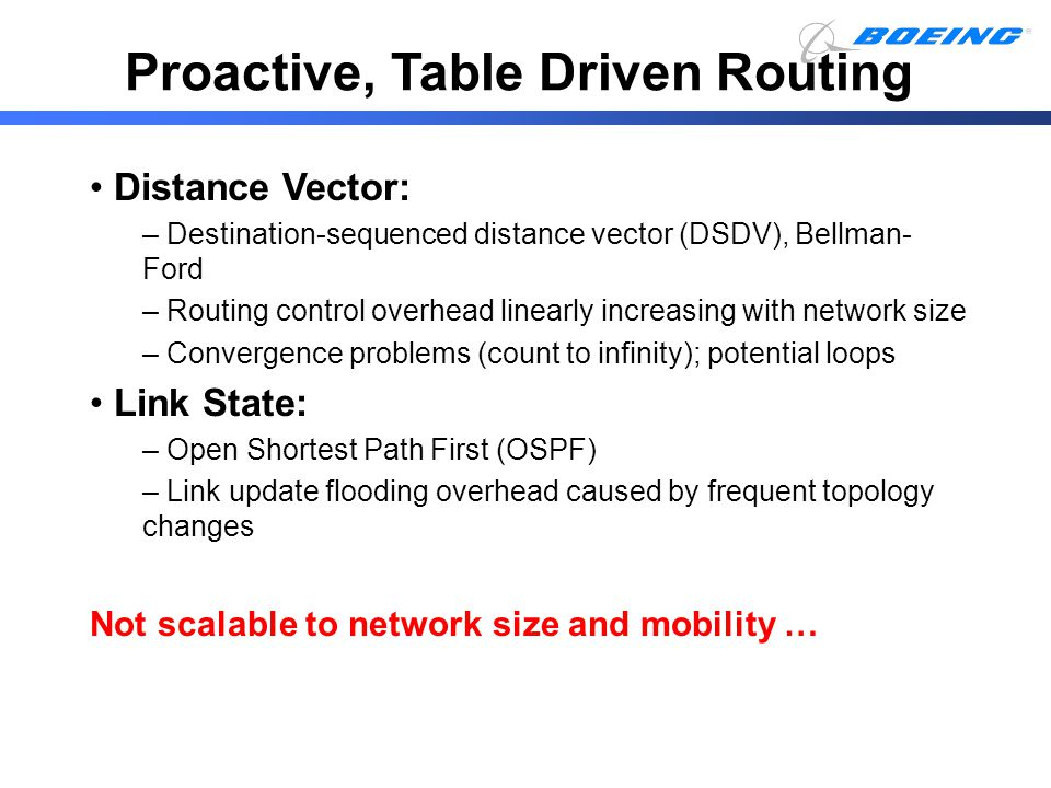 Proactive, Table Driven Routing