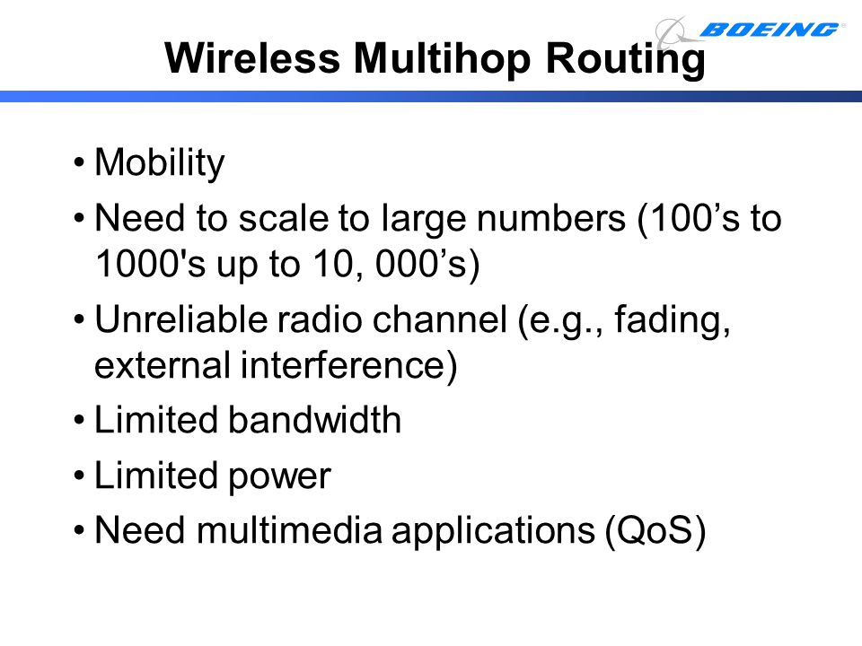 Wireless Multihop Routing