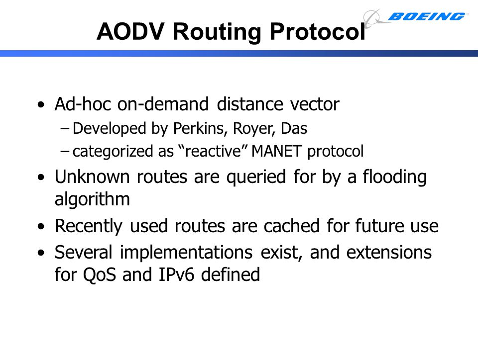 AODV Routing Protocol Ad-hoc on-demand distance vector