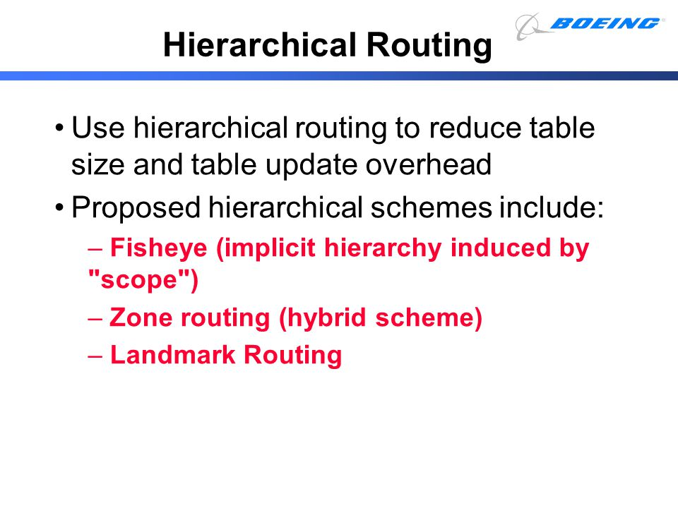 Hierarchical Routing Use hierarchical routing to reduce table size and table update overhead. Proposed hierarchical schemes include: