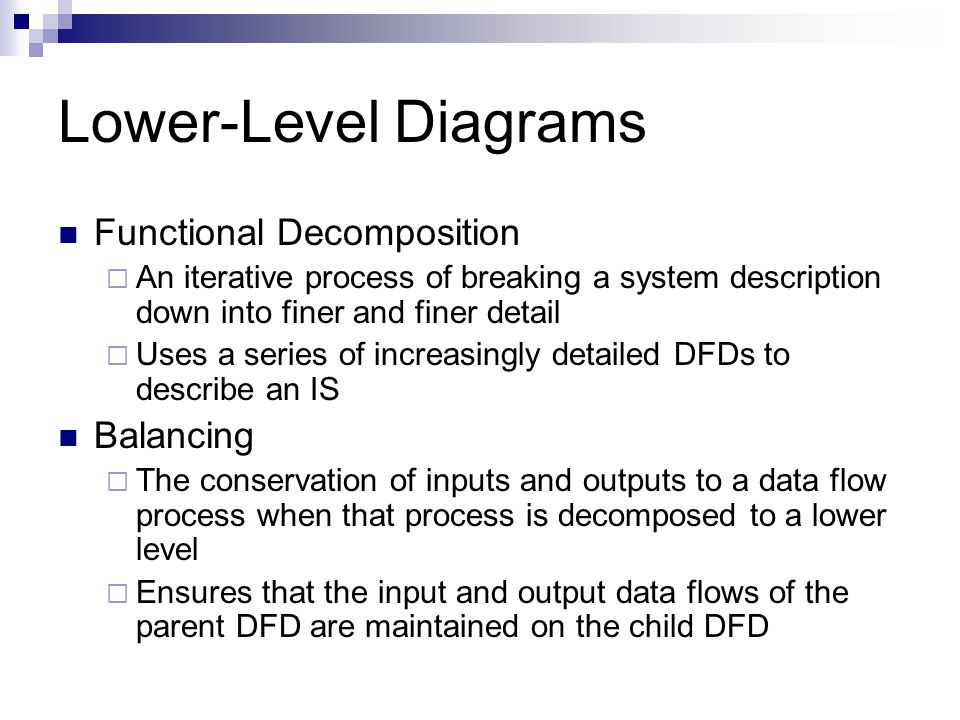 Lower-Level Diagrams Functional Decomposition Balancing