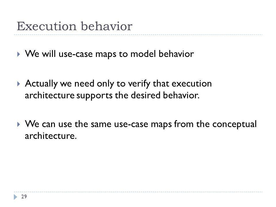 Execution behavior We will use-case maps to model behavior