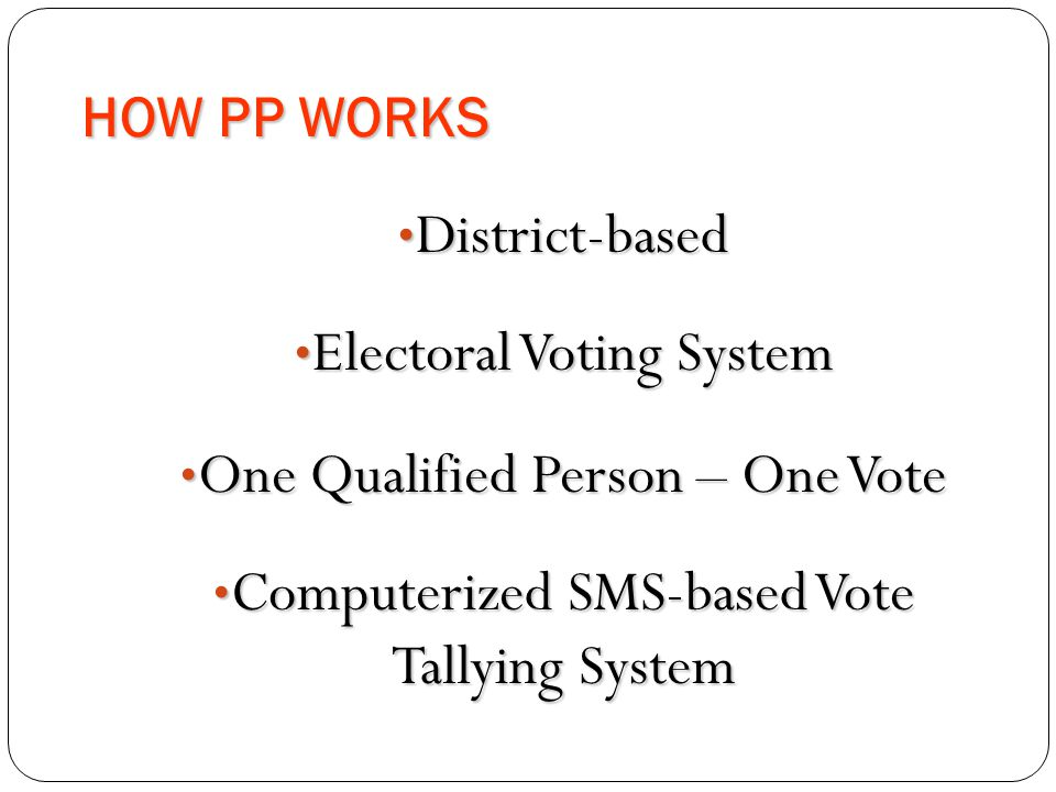 Electoral Voting System One Qualified Person – One Vote