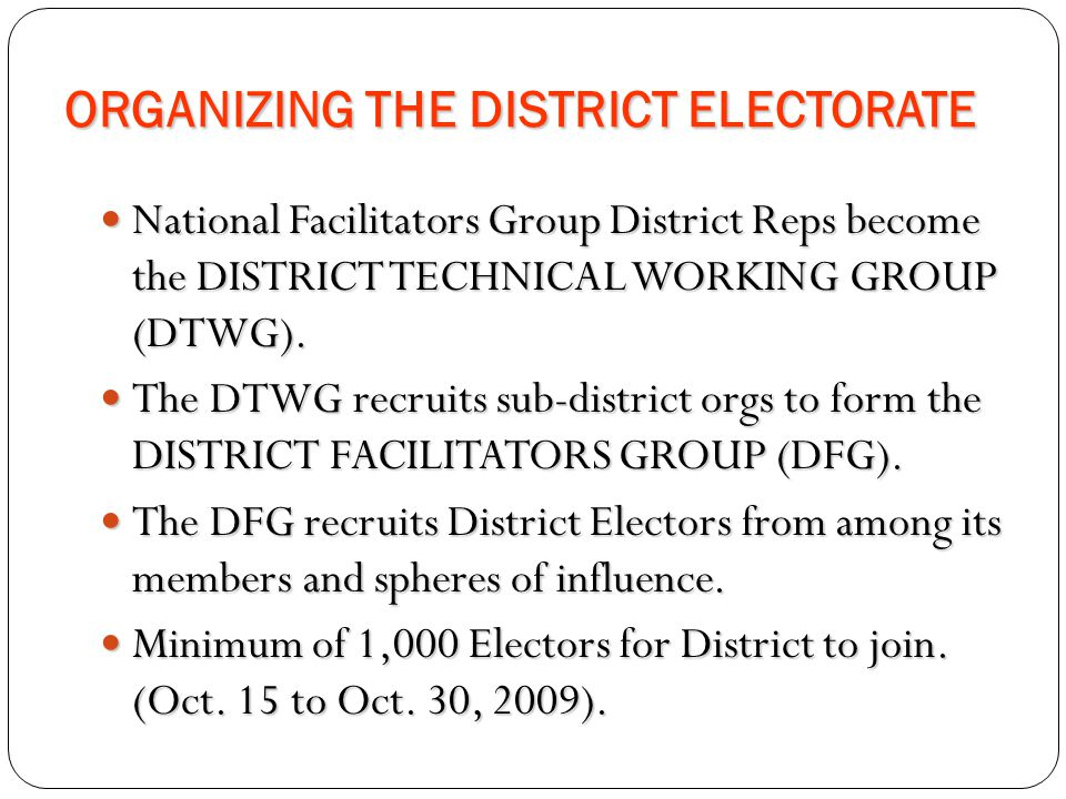 ORGANIZING THE DISTRICT ELECTORATE