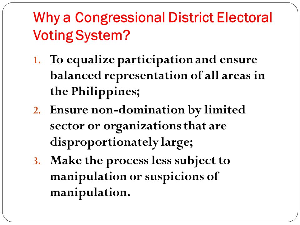 Why a Congressional District Electoral Voting System