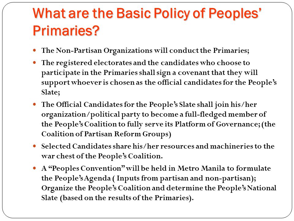What are the Basic Policy of Peoples' Primaries