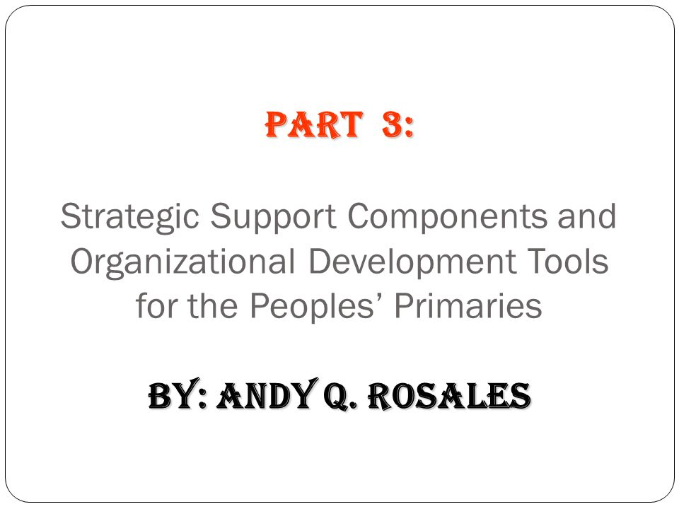 PART 3: Strategic Support Components and Organizational Development Tools for the Peoples' Primaries by: Andy Q. Rosales