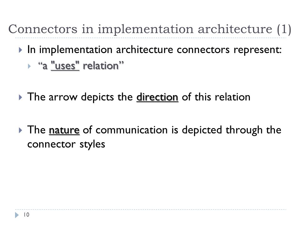 Connectors in implementation architecture (1)