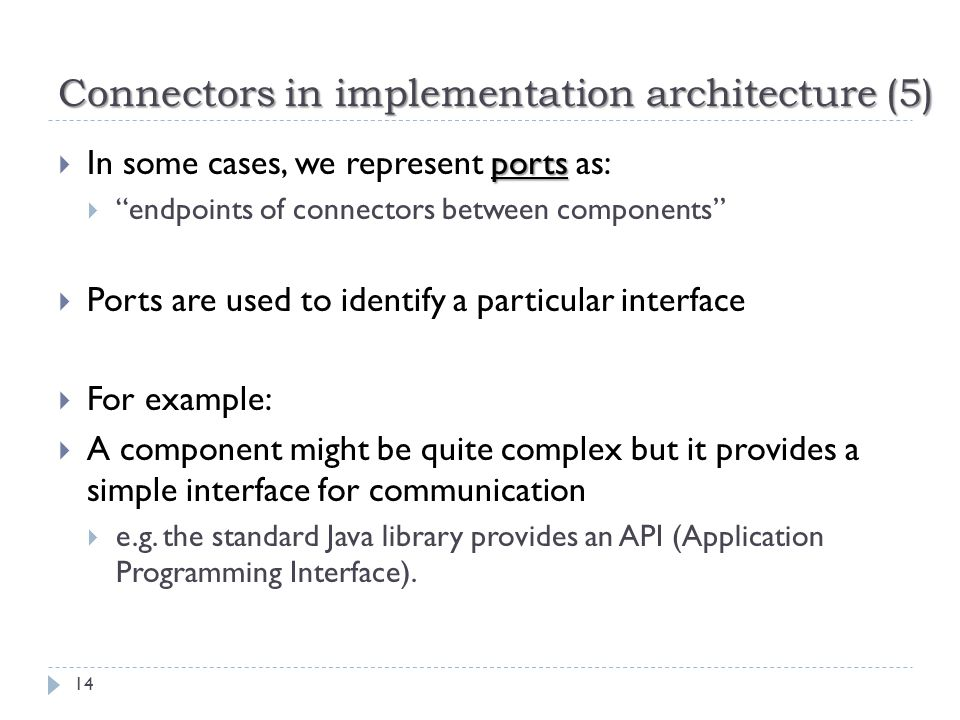 Connectors in implementation architecture (5)