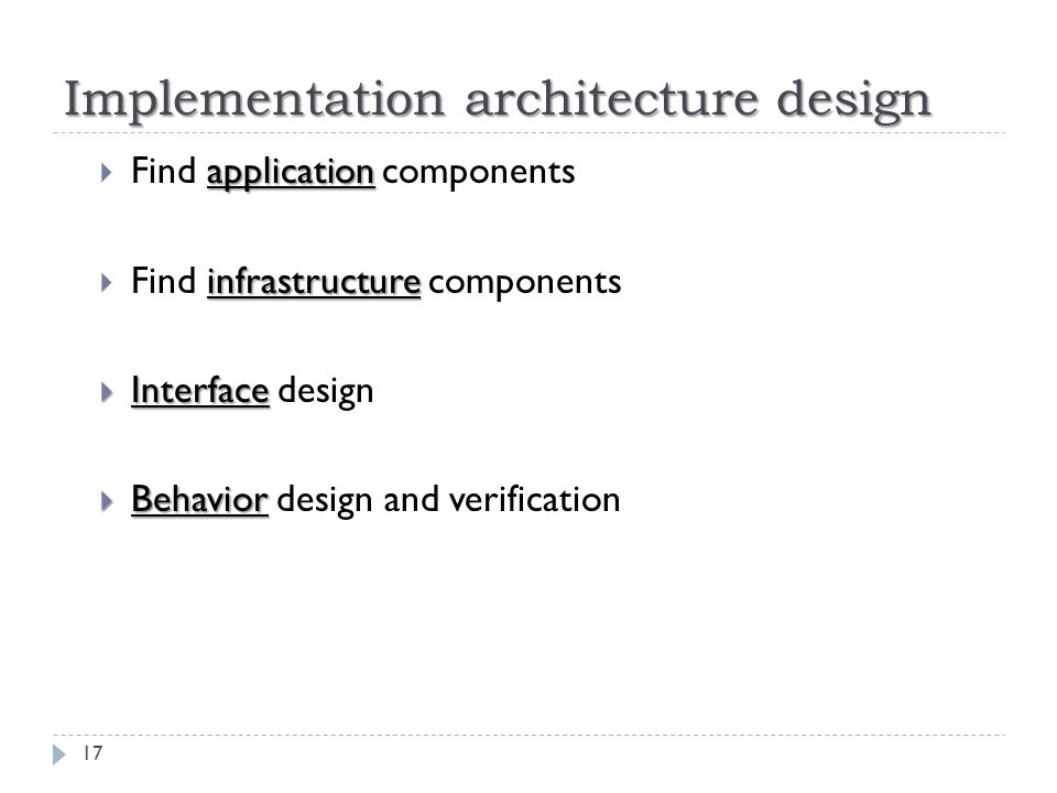 Implementation architecture design