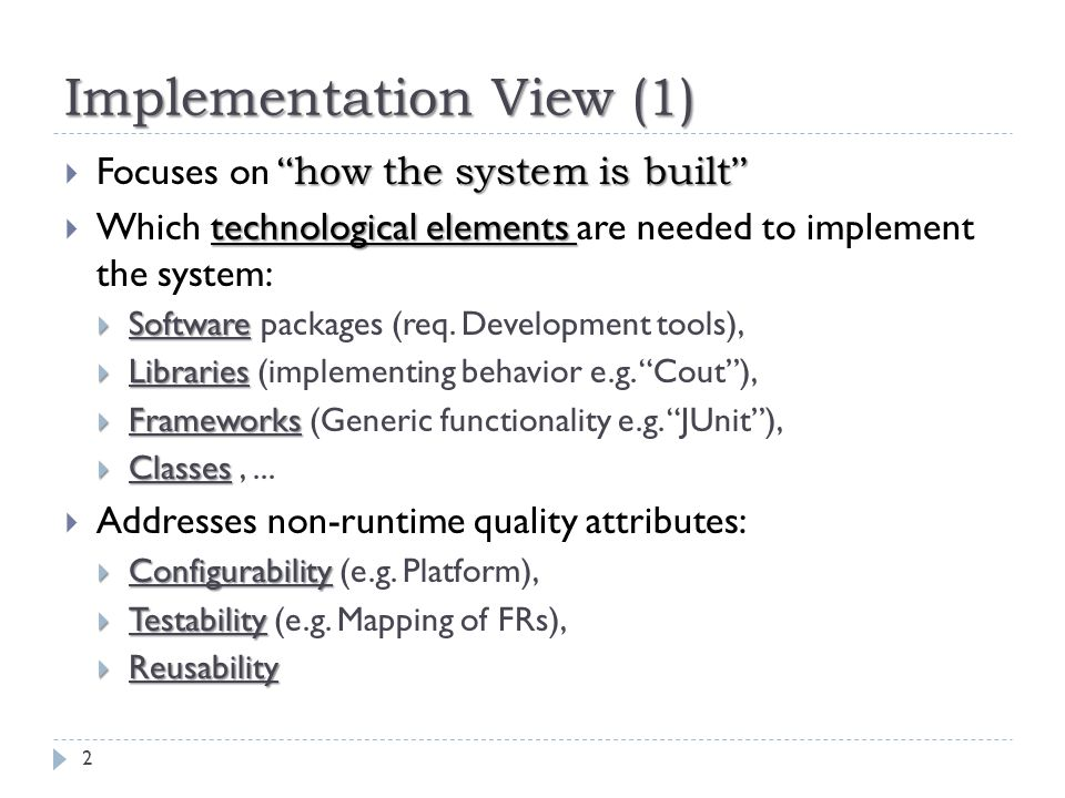 Implementation View (1)