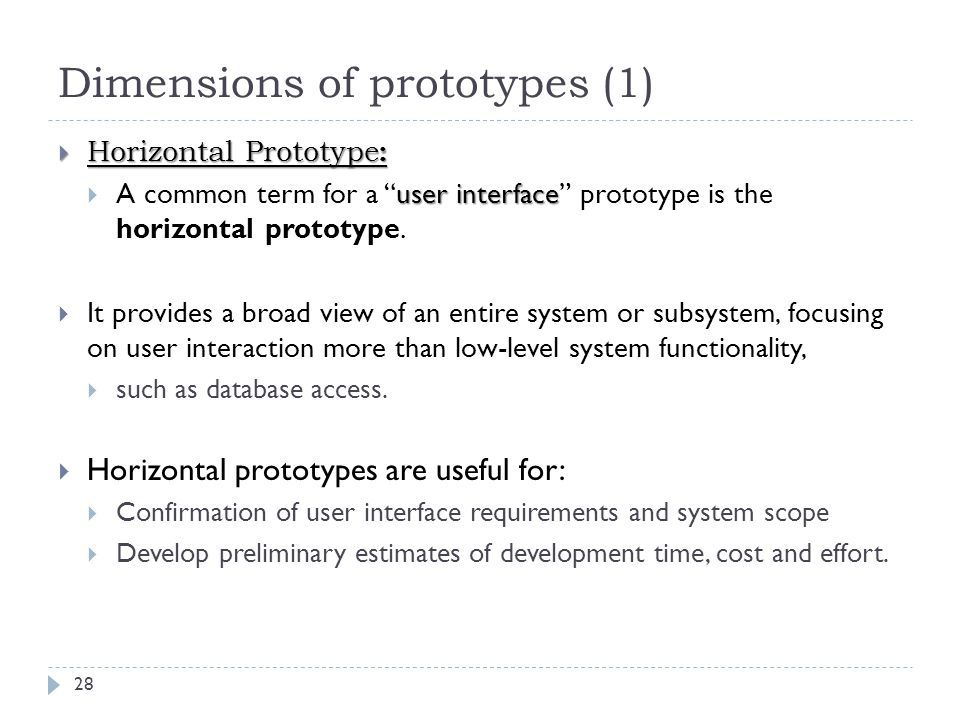 Dimensions of prototypes (1)