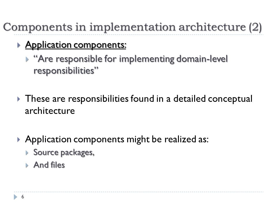 Components in implementation architecture (2)