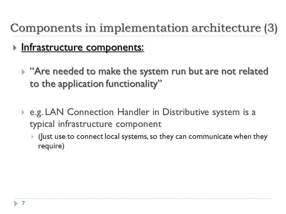 Components in implementation architecture (3)