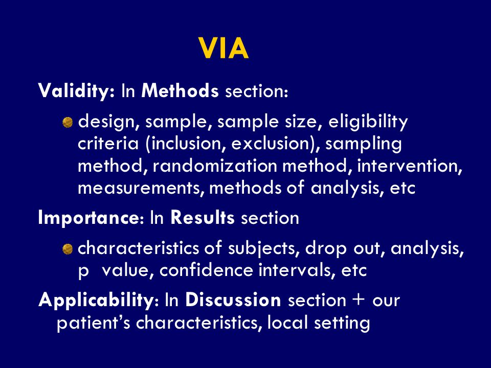 VIA Validity: In Methods section: