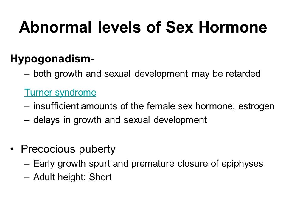 Abnormal levels of Sex Hormone