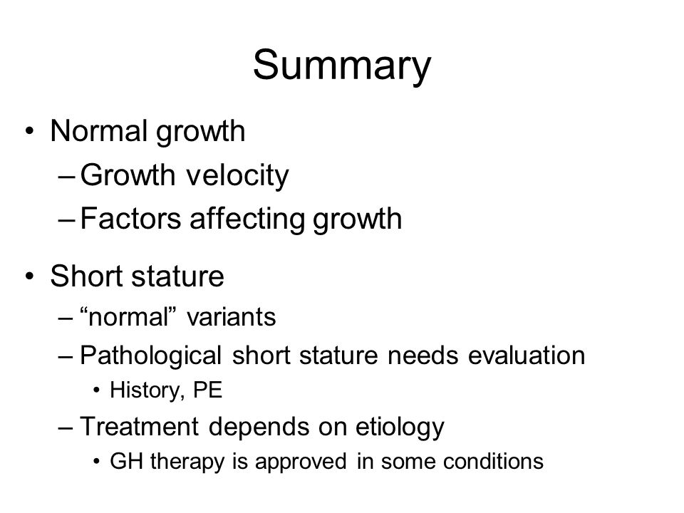 Summary Normal growth Growth velocity Factors affecting growth