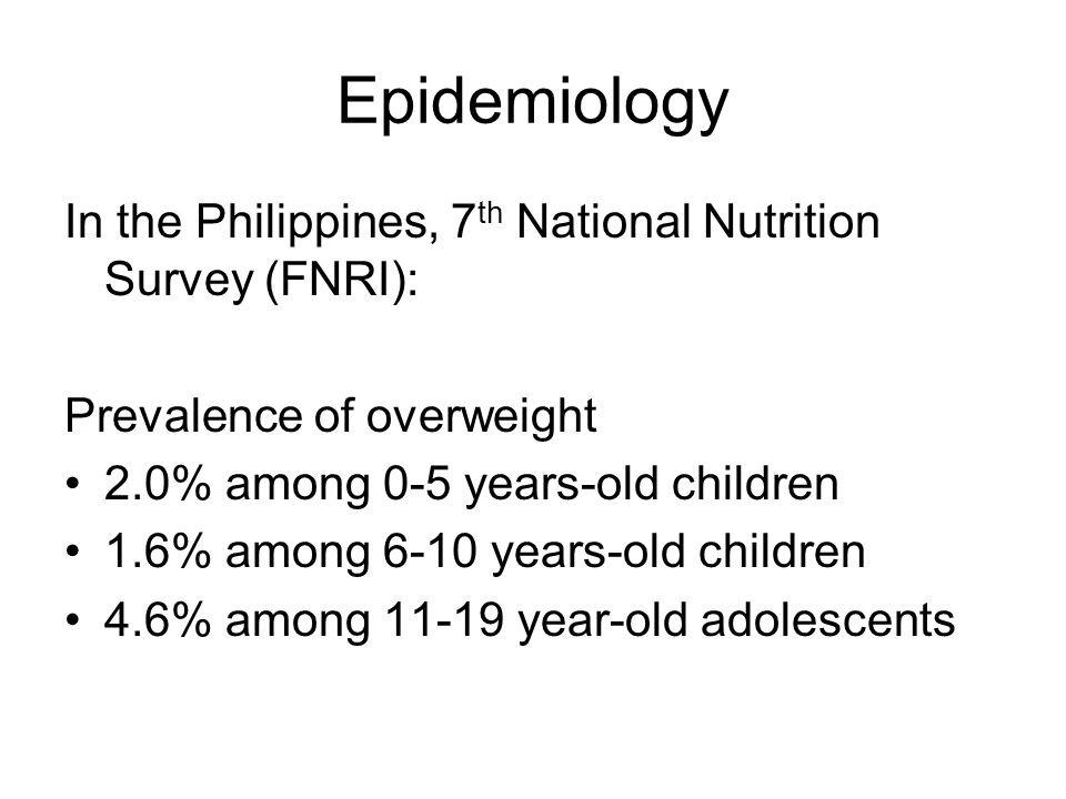 Epidemiology In the Philippines, 7th National Nutrition Survey (FNRI):