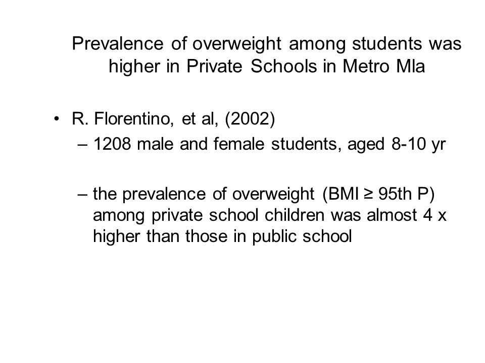 Prevalence of overweight among students was higher in Private Schools in Metro Mla
