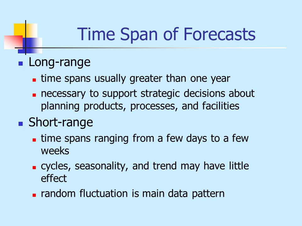 Time Span of Forecasts Long-range Short-range