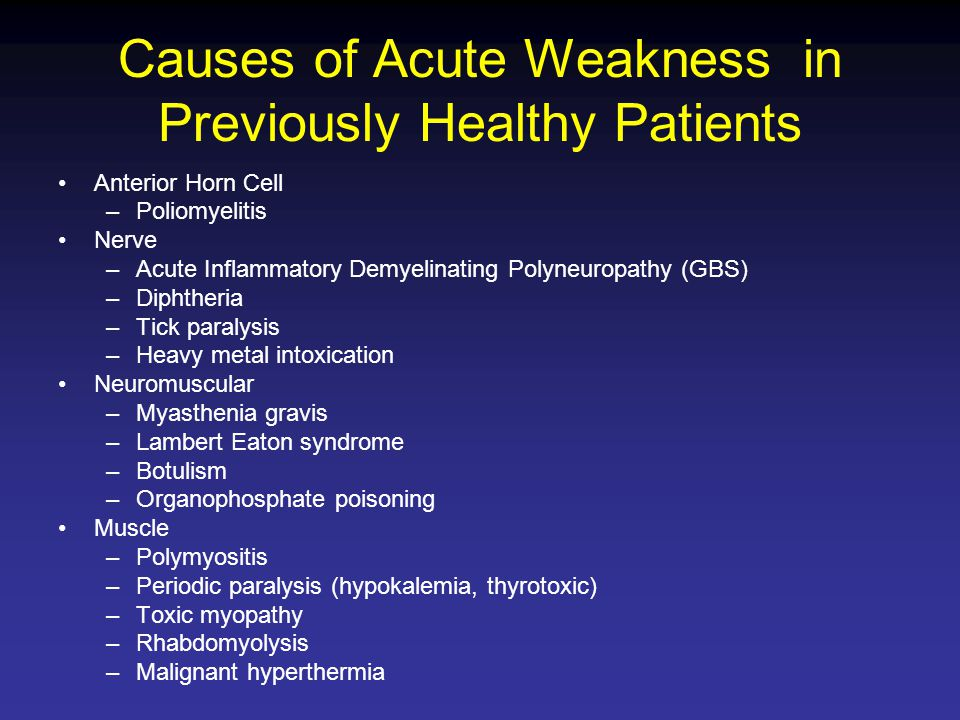 Causes of Acute Weakness in Previously Healthy Patients