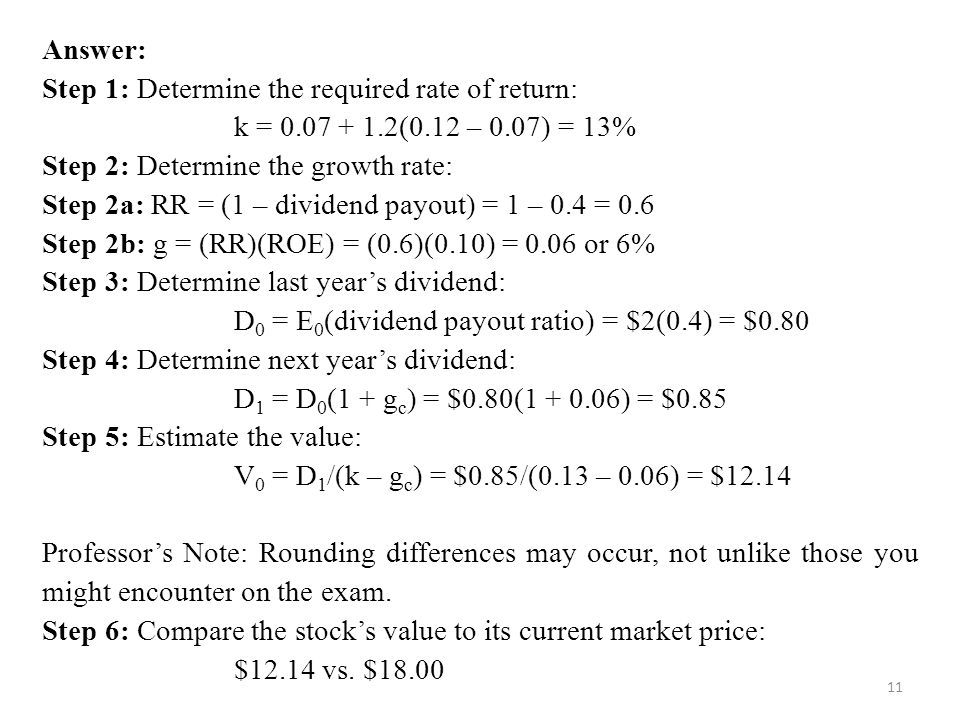 Answer: Step 1: Determine the required rate of return: k = 0.07 + 1.2(0.12 – 0.07) = 13% Step 2: Determine the growth rate: