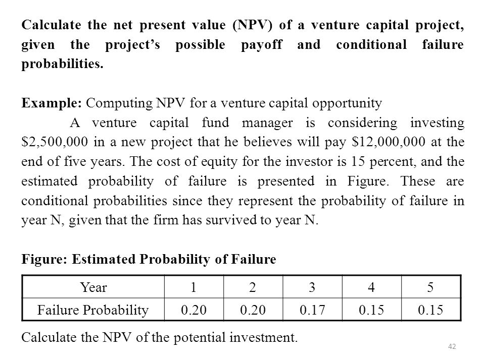 Calculate the net present value (NPV) of a venture capital project, given the project's possible payoff and conditional failure probabilities.