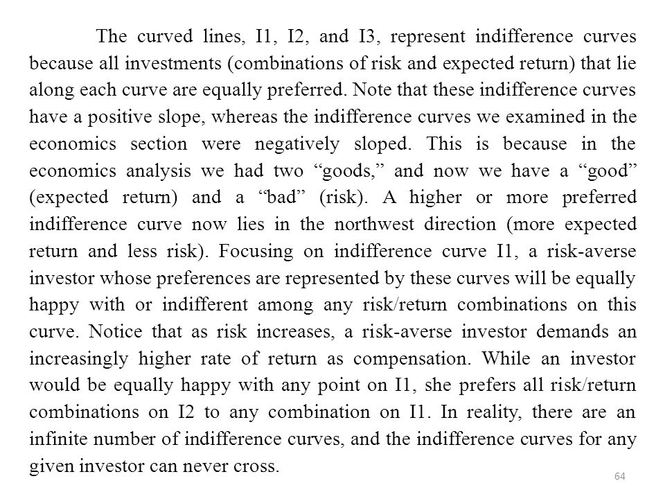 The curved lines, I1, I2, and I3, represent indifference curves because all investments (combinations of risk and expected return) that lie along each curve are equally preferred.