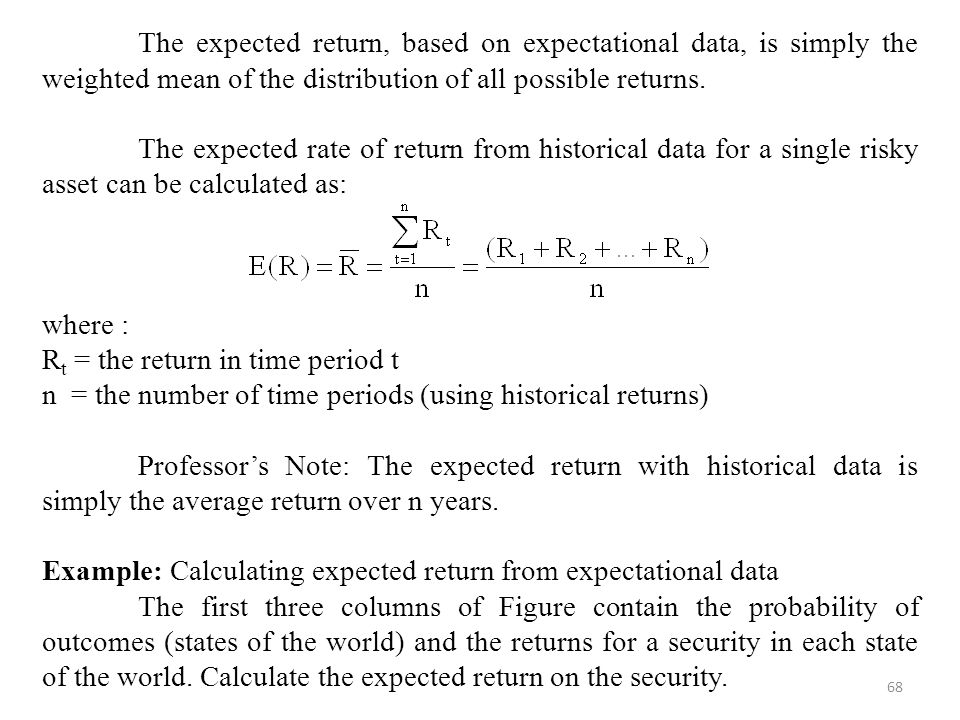 The expected return, based on expectational data, is simply the weighted mean of the distribution of all possible returns.