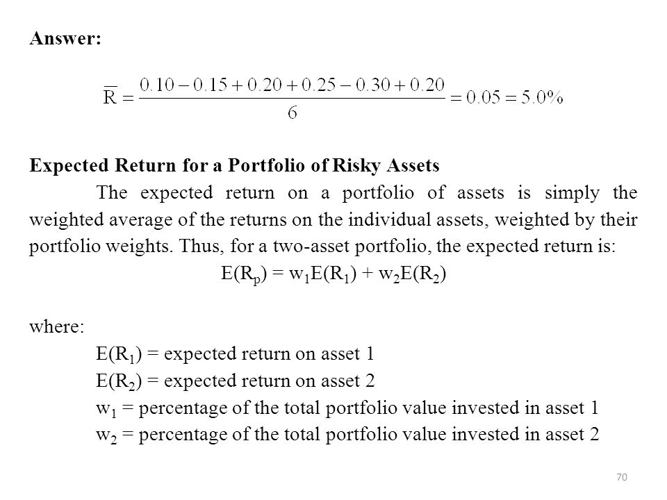 Answer: Expected Return for a Portfolio of Risky Assets.