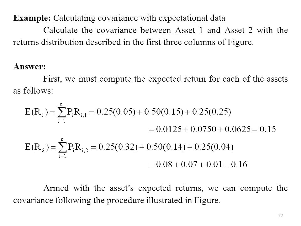 Example: Calculating covariance with expectational data