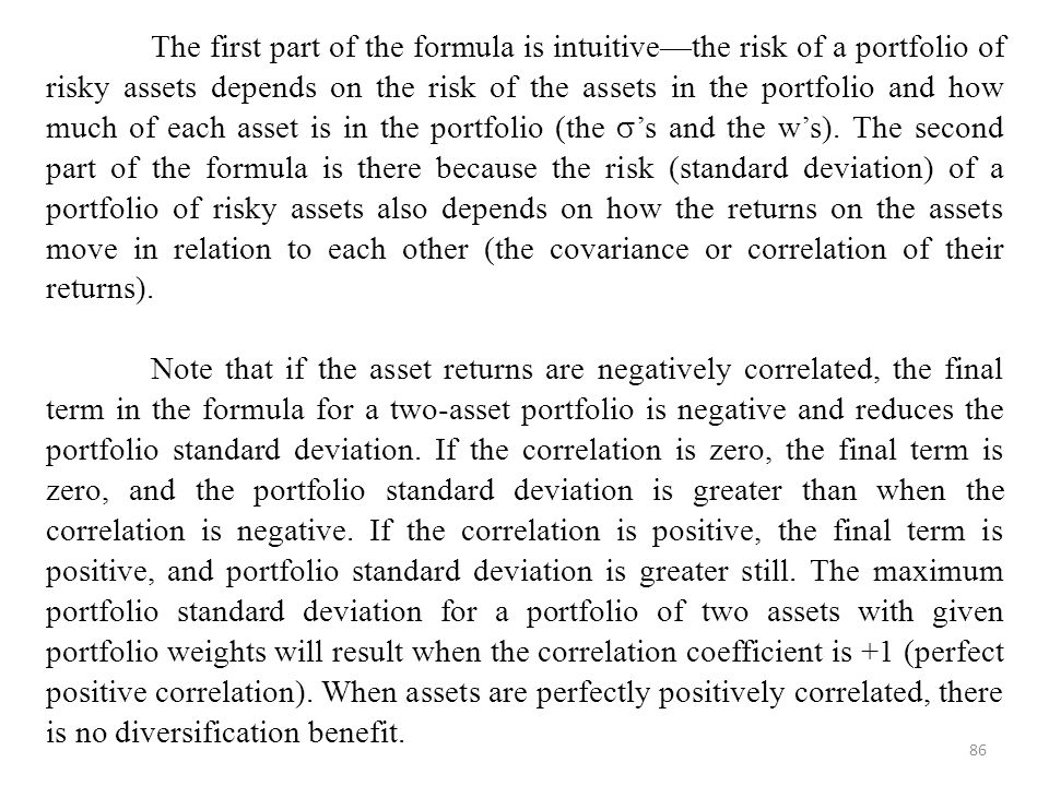 The first part of the formula is intuitive—the risk of a portfolio of risky assets depends on the risk of the assets in the portfolio and how much of each asset is in the portfolio (the 's and the w's). The second part of the formula is there because the risk (standard deviation) of a portfolio of risky assets also depends on how the returns on the assets move in relation to each other (the covariance or correlation of their returns).