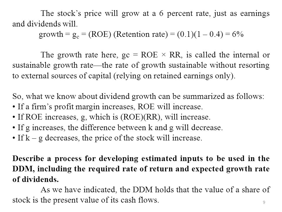 growth = gc = (ROE) (Retention rate) = (0.1)(1 – 0.4) = 6%