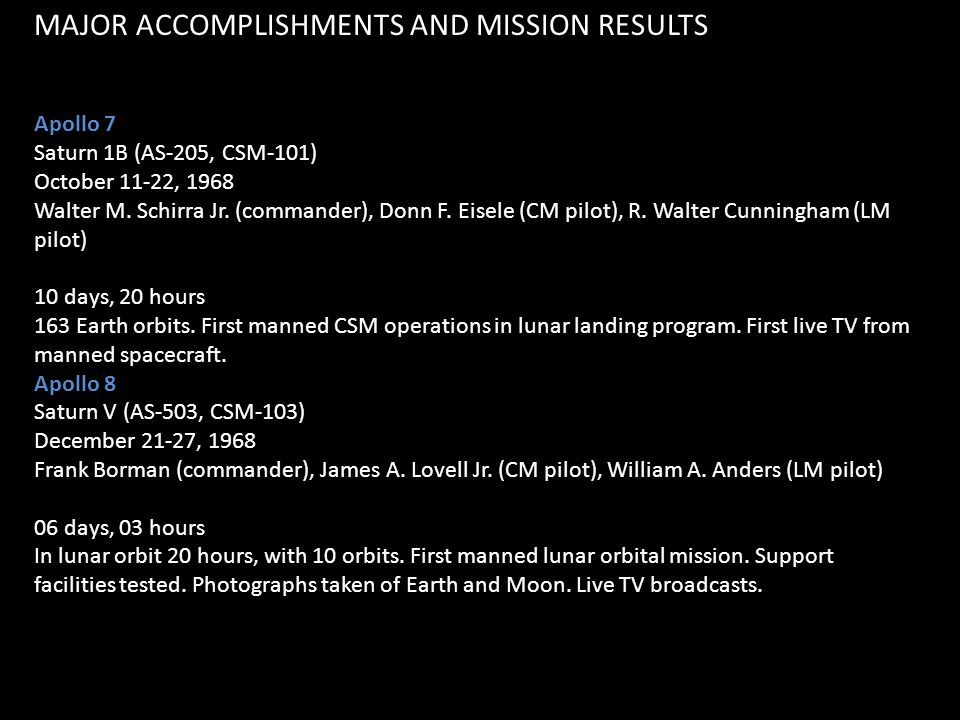 MAJOR ACCOMPLISHMENTS AND MISSION RESULTS