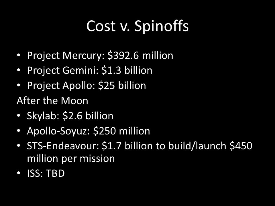 Cost v. Spinoffs Project Mercury: $392.6 million