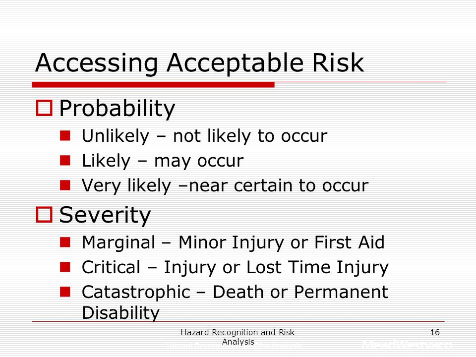 Accessing Acceptable Risk