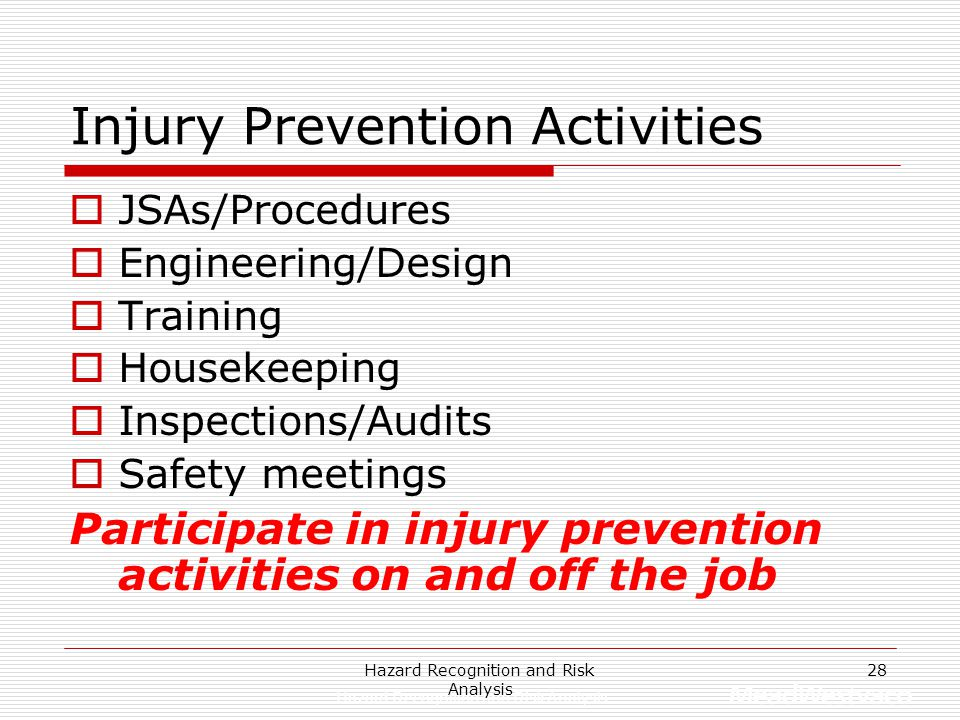 Injury Prevention Activities